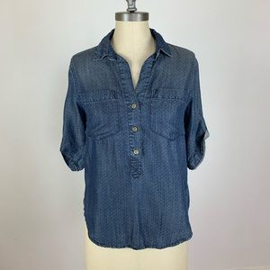 Anthropologie Cloth & Stone Chambray Dot Popover
